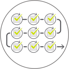 Step-by-step process icon